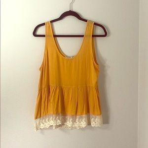 Babydoll tank with lace trim